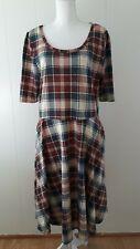 LuLaRoe Nicole Dress 2XL Red Blue Plaid Short Sleeve Pockets