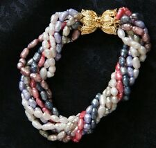 Fresh Water Pearl Bracelet with Seven Strands in Winter Colors!