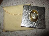 Vintage Evans Gold/Silvertone Metal Compact W/Rhinestone Crown Jewel!!!