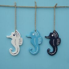 1pcs Mediterranean Style Hippocampus Wood Pendant Nautical Style Wall Decor