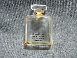 Vintage Chanel miniature glass perfume bottle with stopper stuck empty