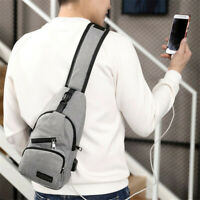 1pc USB Charging Men Chest Pack Crossbody Wallet Antitheft Waists Pack 2019