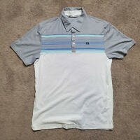 Travis Mathew Polo Shirt Mens L Short Sleeve White Striped Polyester Golf Link