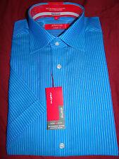Eterna excellent (redline) élégant bleu swiss coton s/s shirt uk 15 eu 38