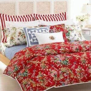 NIP Ralph Lauren Belle Harbor KING Bed Skirt Red Mulit Floral 100% Cotton
