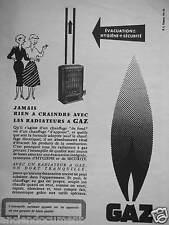 PUBLICITÉ 1955 AVEC UN RADIATEUR A GAZ ONT DORT TRANQUILLE - ADVERTISING