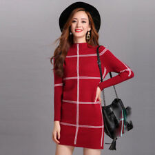 Korean Winter Womens Cashmere Knitting Sweater Dress Formal Long Slim Blouse Top