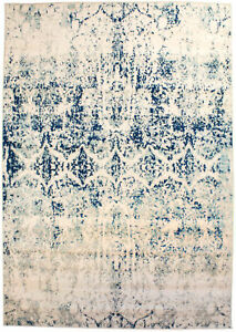 Super Area Rugs Modern Overdyed Vintage Traditional Distressed Rug in Ivory/Blue