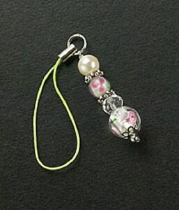 New Silver Dangle Glass Beads Pearl Crystals Cell Phone Charm Free Shipping Gift