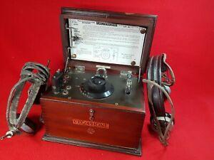 Antique 1920s : GECoPHONE BBC Crystal Detector Radio Set No. 1 inc 2 Headphones