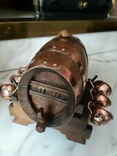 Antique Brandy Barrel with Copper Straps and Complete set of 6 Copper Cups