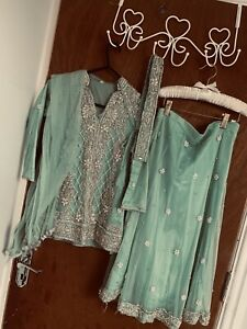 Sea Green Girls Lengha Asian Occasion Dress