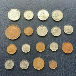 SET OF 18 COINS FROM SOUTH AFRICA 1995 5 RAND 1942 PENNY AND MORE