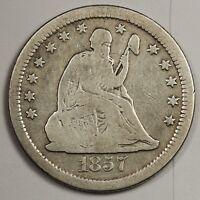 1857-s Liberty Seated Quarter.  V.G.  132665
