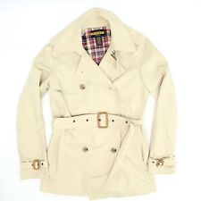 Rugby Ralph Lauren Womens Trench Coat S Solid Beige Belted Cotton Short Jacket