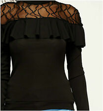 Womens New Black Lace Insert Long Sleeve Frilled Shoulders High Neck Top Blouse