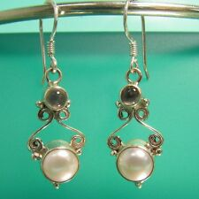 "1"" Pearl & Moonstone 925 Sterling Silver Filigree Handmade Dangle Earring"