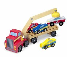 Melissa & Doug JUGUETE DE MADERA Cargador de coche magnético Set con 4 coches y 1 semi-remolque