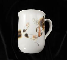 Otagiri Tea Coffee Mug Longhair Cat Kitten White with Gold Rim by Anna Lawwill