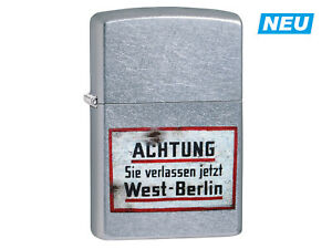 "ZIPPO ""ACHTUNG: SIE VERLASSEN... BERLIN"" STREET CHROME COLOR LIGHTER ** NEW **"