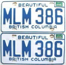 1977 British Columbia Automobile Car license plates pair # Mlm-386