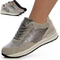 Damenschuhe Plateau Turnschuhe Sneaker Metallic Derby