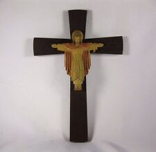"WOOD CRUCIFIX JESUS CHRIST LARGE 12"" Wall CROSS  Christian Religious Christ"