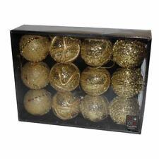 Boîte de 12 pailleté, Perle & Gem Noël 80mm boules - Doré
