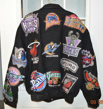RARE JEFF HAMILTON NBA TEAM LOGO LIMITED EDITION WOOL & LEATHER JACKET sz 3XL