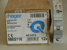 HAGER MBS116 LS Schalter Sicherung Automat Quickconnect B16 1polig 1PLE 12 STÜCK