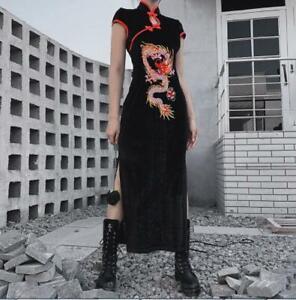 Womens Gothic Retro Chinese Style Dragon Embroidered Cheongsam Long Dress SKGB