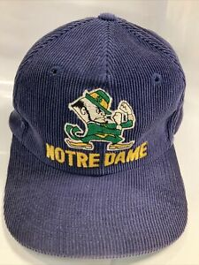 Notre Dame Vintage Hat Fighting Irish SnapBack Corduroy Very Rare OFFICIAL