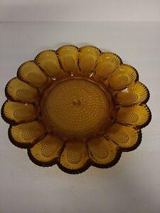 "Vintage Tiara Indiana Glass Deviled Egg Platter 12"" Dish Gold Amber Iridescent"