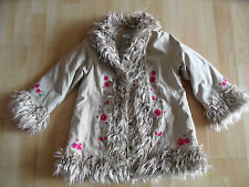 H&M HippieMantel Zottel Fellrand beige Gr. 98 TOP BS1115
