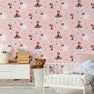 Disney Minnie Mouse Regenbogen G&b Tapete Bunt Stars Kinder Pink 108592
