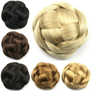 Lady's Braided Bun Updo Cover Clip in Hairpiece Chignon Twist Hair Extensions