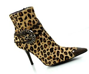 Guess Leopard Pony Hair Heel Boots Gorgeous!! Vintage 1990's