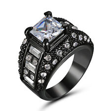 Noble White Crystal Band Womens 10Kt Black Gold Filled Engagement Ring Size 9