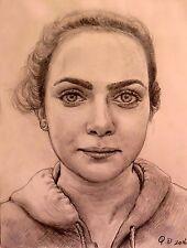 "Original Pencil Drawing""A Teen Girl""by Qi Debrah,Portrait,Size""9""x12"""