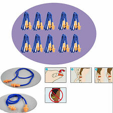 10pc Soft Silicone Cord Ear Plugs Reusable Anti Noise Snore Earplugs Great Sleep