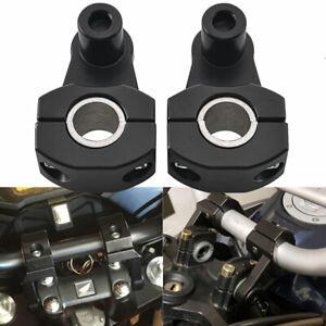 "Pair Universal Front 7/8"" 22mm Black HandleBar Mount Clamps Riser Kit Aluminum"