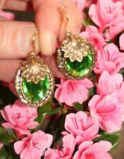 Vintage faceted Peridot glass scallop neptune charm Victorian artisan earrings