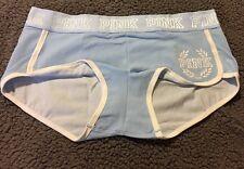 Victoria's Secret PINK Logo Boyshort Light Blue Morning Sky Panty Large