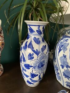 India Jane Oka Tall Chinoiserie  Blue and white porcelain vase Chinese Style
