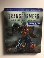 Transformers Age of Extinction 3D (Blu-ray/DVD, 2014) NEW w/lenticular slipcover
