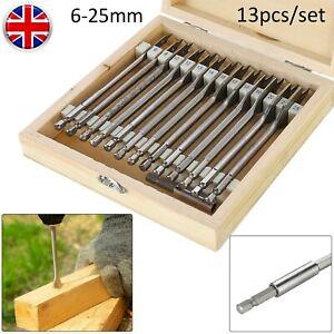 13Pc Wood Drill Bit Set Spade Flat Hex Shank Bits 6-25mm Woodworking Power Tool