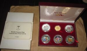 1994 GUINEA WORLD'S FAMOUS DOGS $ color Proof GOLD + SILVER 6 Pcs COINS Set Wit