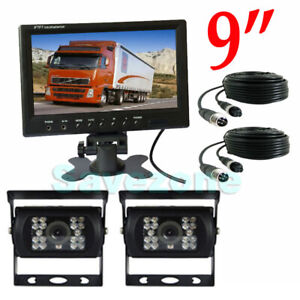 """2 x 4Pin Caméra De Recul + 9"""" LCD Moniteur Vue Arrière Système 10m/20m 12V-24V"""