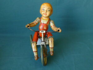 Vintage Kiddy Cyclist Unique Art Mfg Co Tin Wind Up Toy