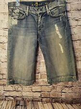 Seven 7 for all man kind womens jeans size 27 dojo shorts distressed EUC bermuda